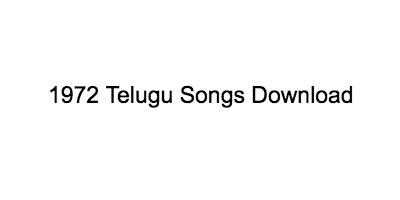 1972 Telugu Songs
